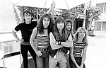 Iron Maiden 1983 Nicko McBrain,Steve Harris, Bruce Dickinson, Adrian Smith and Dave Murray at Sunset Marquis in Hollywood.<br /> &copy; Chris Walter
