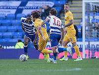 Preston North End's Ben Pearson (centre) under pressure from Reading's John Swift<br /> <br /> Photographer David Horton/CameraSport<br /> <br /> The EFL Sky Bet Championship - Reading v Preston North End - Saturday 19th October 2019 - Madejski Stadium - Reading<br /> <br /> World Copyright © 2019 CameraSport. All rights reserved. 43 Linden Ave. Countesthorpe. Leicester. England. LE8 5PG - Tel: +44 (0) 116 277 4147 - admin@camerasport.com - www.camerasport.com
