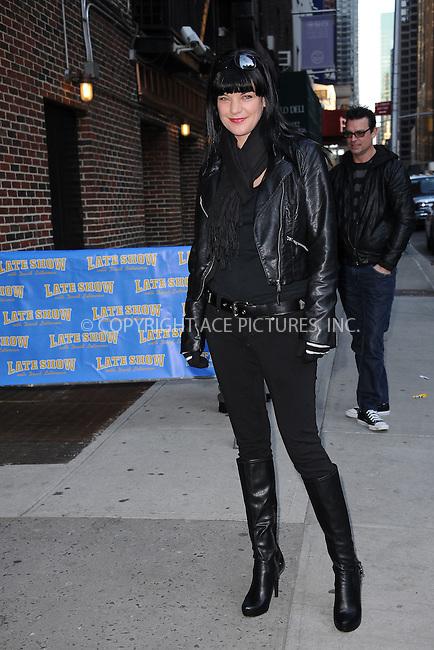 WWW.ACEPIXS.COM . . . . . February 28, 2012...New York City....Pauley Perrette tapes an appearance on  the Late Show with David Letterman on February 28, 2012 in New York City....Please byline: KRISTIN CALLAHAN - ACEPIXS.COM.. . . . . . ..Ace Pictures, Inc: ..tel: (212) 243 8787 or (646) 769 0430..e-mail: info@acepixs.com..web: http://www.acepixs.com .