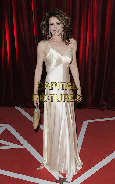 Emma Samms.attended the British Soap Awards 2013, Media City, Salford, Manchester, England, UK, 18th May 2013..arrivals full length gold dress silk satin long maxi bag .CAP/CAN.©Can Nguyen/Capital Pictures.