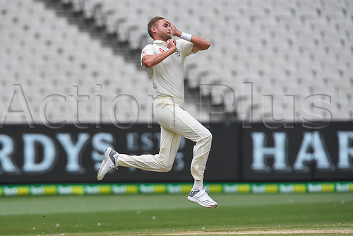 30th December 2017, Melbourne Cricket Ground, Melbourne, Australia; The Ashes Series, fourth test, day 5, Australia versus England; Stuart Broad of England jumps as he bowls