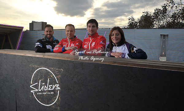 (l to r) David Murdoch, Tom Brewster, Glen Muirhead and Eve Muirhead at the opening of the new rooftop curling centre in East London. Sliders. Roof East. Stratford Shopping Centre. London. England. UK. 03/11/2016. ~ MANDATORY CREDIT Garry Bowden/SIPPA - NO UNAUTHORISED USE - +44 7837 394578