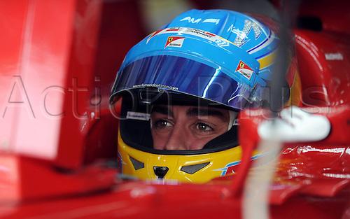 20.04.2012. Manama Bahrain.    Manama April 20 2012 Xinhua Fernando Alonso of Ferrari reacts during The First Practice Session of The Bahrain Formula One Grand Prix AT The Bahrain International Circuit in Manama Bahrain