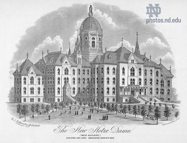 GNDL 3/52:  &quot;The New Notre Dame&quot; - Engraving of Main Building exterior, 1879.<br /> Image from the University of Notre Dame Archives.