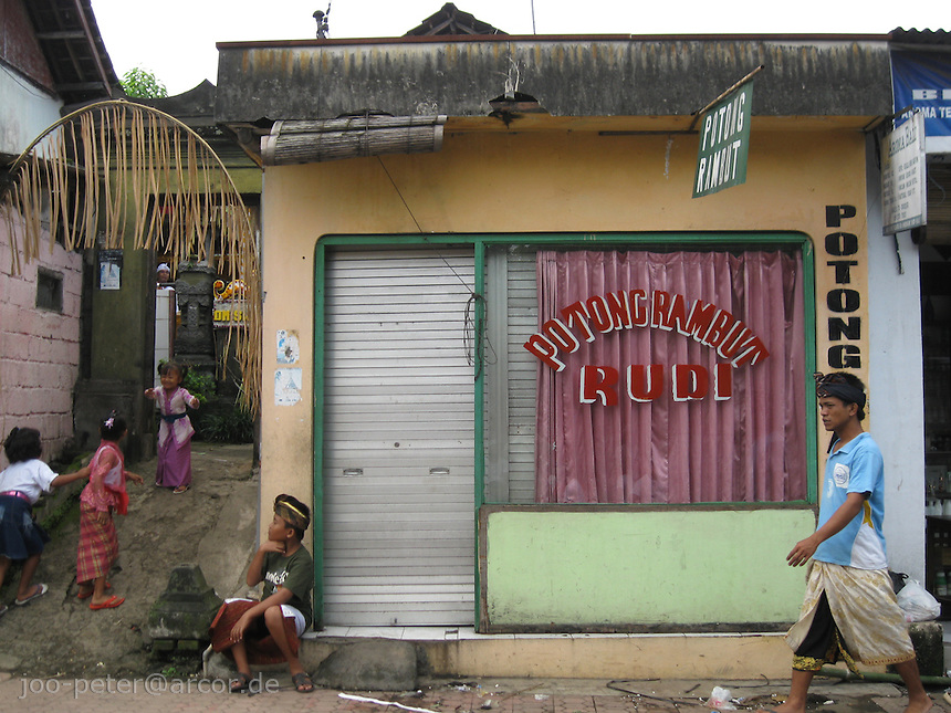 barber shop in Peliatan, Bali, archipelago Indonesia, 2010