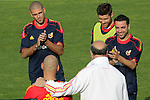 MADRID (24/05/09).- The Spanish Soccer national team has officially begun their hunt for the championship, arriving in the Madrid municipality of Las Rozas to begin preparing for South Africa World Cup.  Victor Valdes, Xabi Alonso and Xavi Herandez...PHOTO: Cesar Cebolla / ALFAQUI