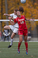 Boston College midfielder Patrice Vettori (18) and Marist College forward/midfielder Marjana Maksuti (12) battle for head ball.  Boston College defeated Marist College, 6-1, in NCAA tournament play at Newton Campus Field, November 13, 2011.