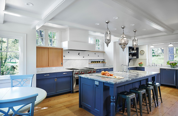 This kitchen's backsplash is in motion with Flight, a water jet and hand chopped mosaic in Blue Macauba and polished Thassos.<br /> <br /> More about Flight here: bit.ly/FlightWaterjet<br /> <br /> Photo by Corey Gaffer: http://www.gafferphotography.com/<br /> For pricing samples and design help, click here: http://www.newravenna.com/showrooms/