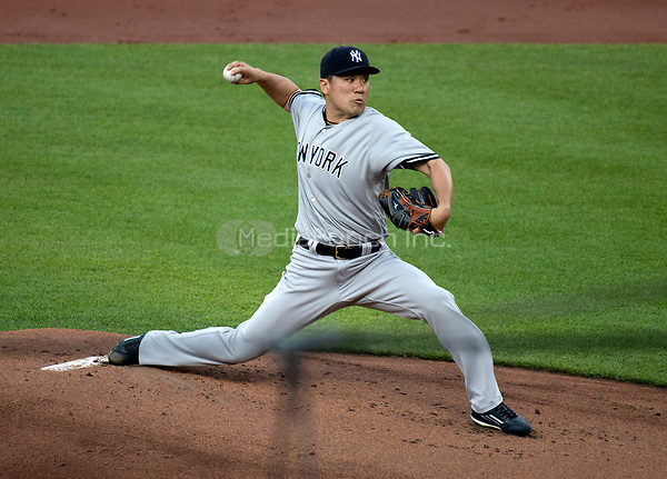 New York Yankees starting pitcher Masahiro Tanaka (19) works in the first inning against the Baltimore Orioles at Oriole Park at Camden Yards in Baltimore, MD on Tuesday, July 10, 2018.<br /> Credit: Ron Sachs / CNP<br /> (RESTRICTION: NO New York or New Jersey Newspapers or newspapers within a 75 mile radius of New York City) Credit: Ron Sachs/MediaPunch