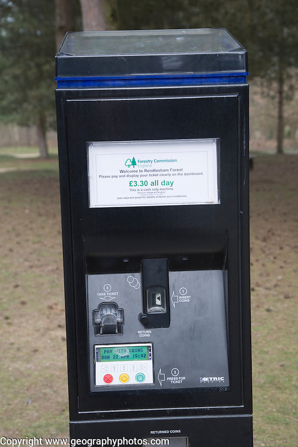 Parking meter in Forestry Commission land, Rendlesham Forest, Suffolk, England
