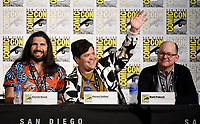 FX FEARLESS FORUM AT SAN DIEGO COMIC-CON© 2019: L-R: Cast Members Kayvan Novak, Harvey Guillén, and Mark Proksch during the WHAT WE DO IN THE SHADOWS panel on Saturday, July 20 at SAN DIEGO COMIC-CON© 2019. CR: Frank Micelotta/FX/PictureGroup © 2019 FX Networks