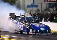 Feb 7, 2014; Pomona, CA, USA; NHRA funny car driver Robert Hight during qualifying for the Winternationals at Auto Club Raceway at Pomona. Mandatory Credit: Mark J. Rebilas-