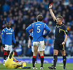 Sasa Papac red carded by ref Iain Brines