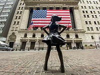 NEW YORK, NY - APRIL 20: The Fearless Girls is photographed in front of the New York Stock Exchange on April 20, 2020. in New York City. United States. U.S. President Trump is looking to get many Americans back to work as soon as possible, but also he recognizes that cities like New York will need to go slow. (Photo by Eduardo MunozAlvarez/VIEWpress)