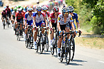 Deceuninck-Quick Step on the front of the peloton during Stage 17 of the 2019 Tour de France running 200km from Pont du Gard to Gap, France. 24th July 2019.<br /> Picture: ASO/Alex Broadway | Cyclefile<br /> All photos usage must carry mandatory copyright credit (© Cyclefile | ASO/Alex Broadway)