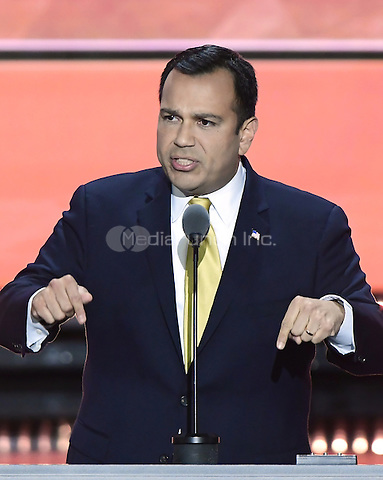 State Senator Ralph Alvarado, Jr. makes remarks at the 2016 Republican National Convention held at the Quicken Loans Arena in Cleveland, Ohio on Wednesday, July 20, 2016.<br /> Credit: Ron Sachs / CNP/MediaPunch<br /> (RESTRICTION: NO New York or New Jersey Newspapers or newspapers within a 75 mile radius of New York City)