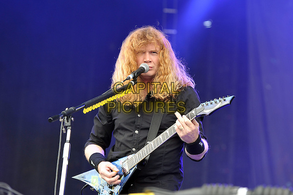 Dave Mustaine of Megadeath .Performing live during Day 1 of Sonisphere festival, Knebworth House, England, UK, 8th July 2011..music live on stage gig concert half length black  shirt playing guitar microphone singing .CAP/MAR.© Martin Harris/Capital Pictures.
