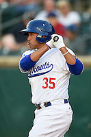 Chattanooga Lookouts outfielder Brian Cavazos-Galvez (35) on deck during a game against the Birmingham Barons on April 24, 2014 at AT&T Field in Chattanooga, Tennessee.  Chattanooga defeated Birmingham 5-4.  (Mike Janes/Four Seam Images)