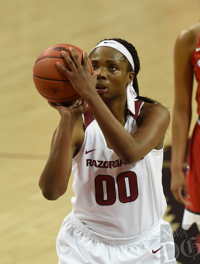 NWA Democrat-Gazette/MICHAEL WOODS @NWAMICHAELW<br /> University of Arkansas forward Jessica Jackson shoots a free throw Thursday February 2, 2017 during the Razorbacks game against Georgia at Bud Walton Arena in Fayetteville.