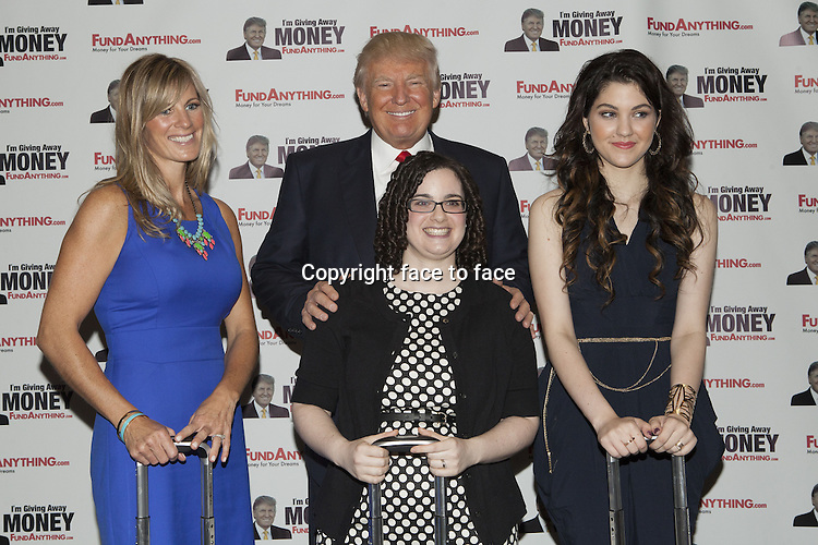 Jenny Dellafranca, Adena Reimer, Donald Trump, Celeste Buckingha // NEW YORK, NY - MAY 8: Donald_Trump promotes FundAnything.com during a press conference at Trump Tower in New York City. May 8, 2013...Credit: MediaPunch/face to face..- Germany, Austria, Switzerland, Eastern Europe, Australia, UK, USA, Taiwan, Singapore, China, Malaysia, Thailand, Sweden, Estonia, Latvia and Lithuania rights only -