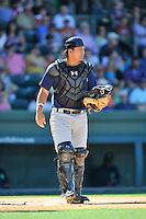 Catcher Natanael Ramos (40) of the Columbia Fireflies in a game against the Greenville Drive on Sunday, April 24, 2016, at Fluor Field at the West End in Greenville, South Carolina. Greenville won, 5-1. (Tom Priddy/Four Seam Images)