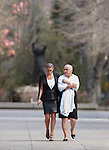 Nevada Sen. Debbie Smith, D-Sparks, and her daughter Erin Marlon walk around the Capital grounds, in Carson City, Nev., on Wednesday, April 8, 2015. Smith returned to work Wednesday, two months after having a malignant brain tumor removed. <br /> Photo by Cathleen Allison