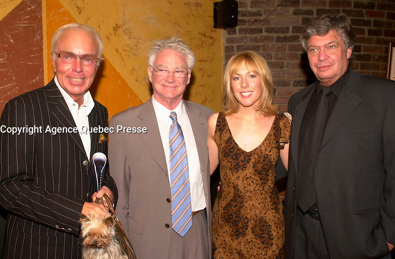May 13, 2003, Montreal, Quebec, Canada<br /> <br /> Michele Girouard  Gilles Proulx husband of Bianca Ortolano, Me Archambault, criminal lawyer, at the launch of Bianca CD, May 13 2003 in Montreal.<br /> <br /> <br /> <br /> NOTE : <br />  Nikon D-1 jpeg opened with Qimage icc profile, saved in Adobe 1998 RGB<br /> .Uncompressed  Original  size  file availble on request.