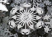 """Snowflakes representing each of the 56 states and territories that make-up the United States in the East Colonnade as part of the 2015 White House Christmas theme """"A Timeless Tradition"""" at the White House in Washington, DC on Wednesday, December 2, 2015.<br /> Credit: Ron Sachs / CNP"""