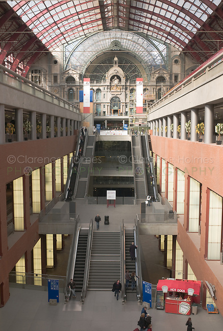 New levels, including stores and restaurants, and the atrium inside Antwerp's Central Station after restoration and expansion of the station