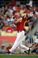 February 28 2010: Cade Kreuter of USC during game against UCLA at Dodger Stadium in Los Angeles,CA.  Photo by Larry Goren/Four Seam Images