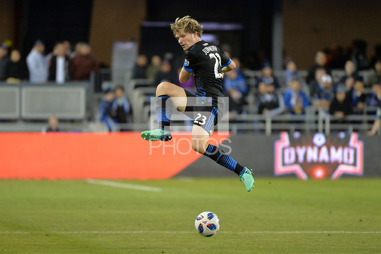 San Jose, CA - Saturday April 14, 2018: Florian Jungwirth during a Major League Soccer (MLS) match between the San Jose Earthquakes and the Houston Dynamo at Avaya Stadium.