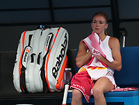 17th January 2019, Melbourne Park, Melbourne, Australia; Australian Open Tennis, day 4; Camilla Giorgi of Italy sits on bench during the match agains ILA Swiatek of Poland