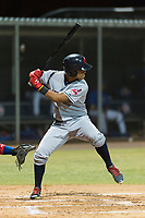 AZL Indians 2 right fielder Pablo Jimenez (29) at bat during an Arizona League game against the AZL Cubs 2 at Sloan Park on August 2, 2018 in Mesa, Arizona. The AZL Indians 2 defeated the AZL Cubs 2 by a score of 9-8. (Zachary Lucy/Four Seam Images)