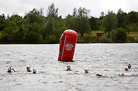 Photo: Richard Lane/Richard Lane Photography. British Triathlon Super Series, Parc Bryn Bach. 18/07/2009. .Swimming start during the Women's Elite Race transition area.