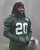 Marcus Williams #20 New York Jets cornerback keeps his hands warm during practice at the Atlantic Health Jets Training Jets Training Center in Florham Park, NJ on Wednesday, Dec. 30, 2015.