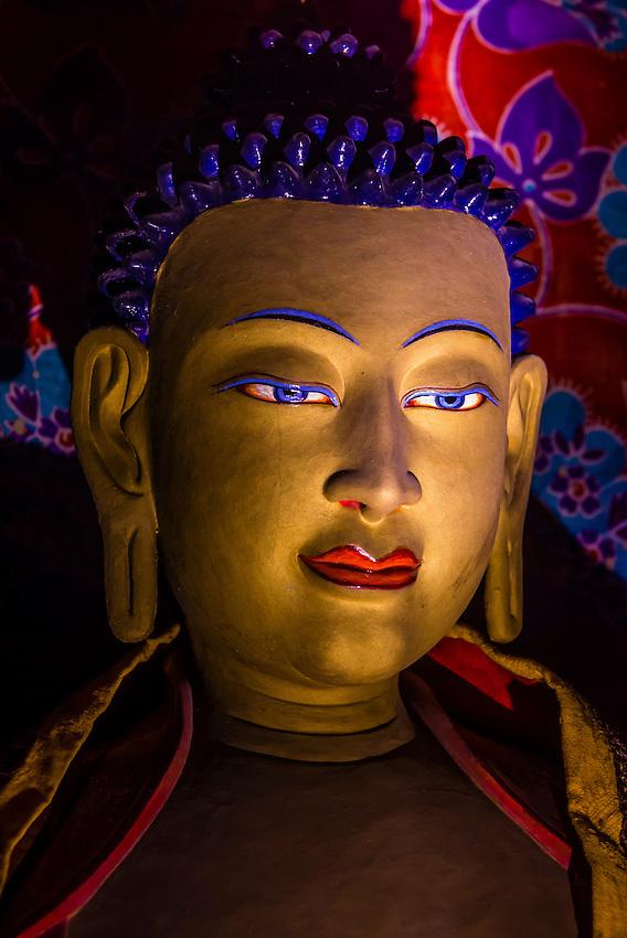 Statues, Stok Monastery, Leh Valley, Ladakh, Jammu and Kashmir State, India.