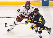 Alex Tuch (BC - 12), Brett Seney (Merrimack - 13) - The Boston College Eagles defeated the visiting Merrimack College Warriors 2-1 on Wednesday, January 21, 2015, at Kelley Rink in Conte Forum in Chestnut Hill, Massachusetts.