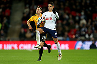 Mickey Demetriou of Newport County and Erik Lamela of Tottenham Hotspur during Tottenham Hotspur vs Newport County, Emirates FA Cup Football at Wembley Stadium on 7th February 2018
