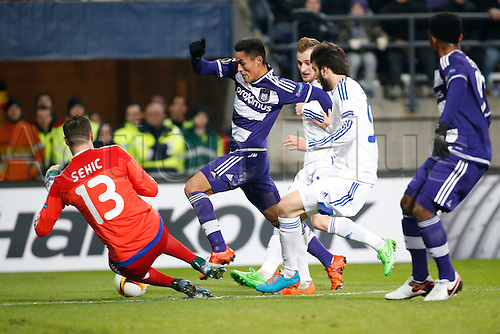 10.12.2015. Brussels, Belgium. UEFA Europa League group stages. RSC Anderlecht versus Qarabag.  Najar Andy midfielder of Rsc Anderlecht sees his shot saved by Sehic