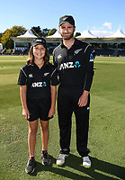 ANZ Coin toss winner with Kane Williamson.<br /> New Zealand Blackcaps v England. 5th ODI International one day cricket, Hagley Oval, Christchurch. New Zealand. Saturday 10 March 2018. &copy; Copyright Photo: Andrew Cornaga / www.Photosport.nz