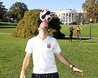 "Ben Olsen performs in front of the White House during a  D.C United clinic in support of first lady Michelle Obama's ""Let's Move"" initiative on the White House lawn, in Washington D.C. on October 7 2010."