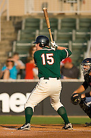 Paul Gran #15 of the Greensboro Grasshoppers at bat versus the Kannapolis Intimidators at Fieldcrest Cannon Stadium June 13, 2009 in Kannapolis, North Carolina. (Photo by Brian Westerholt / Four Seam Images)