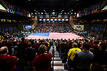 SIOUX FALLS, SD - MARCH 24: The United States flag is draped over the court during the Division II Men's Basketball Championship held at the Sanford Pentagon on March 24, 2018 in Sioux Falls, South Dakota. Ferris State University defeated Northern State University 71-69. (Photo by Tim Nwachukwu/NCAA Photos via Getty Images)