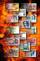 Banknotes of the world in flames