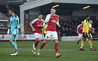 Fleetwood Town's Wes Burns celebrates scoring the opening goal past Oxford United's Simon Eastwood<br /> <br /> Photographer Rich Linley/CameraSport<br /> <br /> The EFL Sky Bet League One - Fleetwood Town v Oxford United - Saturday 12th January 2019 - Highbury Stadium - Fleetwood<br /> <br /> World Copyright &copy; 2019 CameraSport. All rights reserved. 43 Linden Ave. Countesthorpe. Leicester. England. LE8 5PG - Tel: +44 (0) 116 277 4147 - admin@camerasport.com - www.camerasport.com