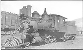 3/4 fireman's-side view of D&amp;RGW #263 at Durango.<br /> D&amp;RGW  Durango, CO  Taken by Perry, Otto C. - 6/2/1923