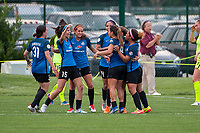 Kansas City, MO - Saturday June 17, 2017: Erika Tymrak, Shea Groom, Alexa Newfield, Desiree Scott during a regular season National Women's Soccer League (NWSL) match between FC Kansas City and the Seattle Reign FC at Children's Mercy Victory Field.