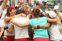 23 May 2006: Celia Durkin, Theresa Logar, Megan Doheny and the team celebrate after Stanford's 4-1 win over the Miami Hurricanes in the 2006 NCAA Division 1 Women's Tennis Team Championships at the Taube Family Tennis Stadium in Stanford, CA.