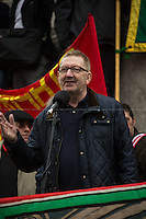 Len McCluskey (General Secretary of Unite). <br /> <br /> London, 01/05/2014. Thousands of people marched in central London to celebrate the International Workers' Day dedicated this year to the two great leaders, Bob Crow (General Secretary & leader of the Rail Maritime and Transport Union, RMT) and Tony Benn (Former Labour Cabinet Minister, Socialist and leading left-wing and anti-war campaigner), both passed away in March 2014. The rally started in Clerkenwell Green and ended in Trafalgar Square where speakers gave speeches remembering the two late leaders, in defence of worker's rights, in protest against the coalition Government spending cuts and policies, and in support and solidarity with the other demonstrations held around the world.