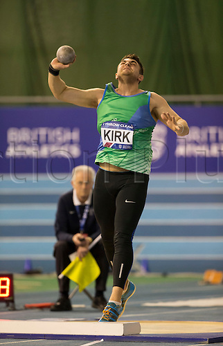 28.02.2016. EIS Sheffield, Sheffield, England. British Indoor Athletics Championships Day Two. Tom Kirk (Sheffield) during the Men's Shot Put final.